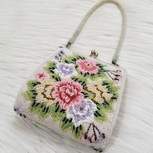 Vintage 50's small floral beaded bag
